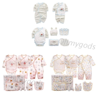 OMG* 10Pcs Baby Cotton Clothing Set Trousers+Bib+Hat+Long Sleeve Top+Jumpsuit+Pillow