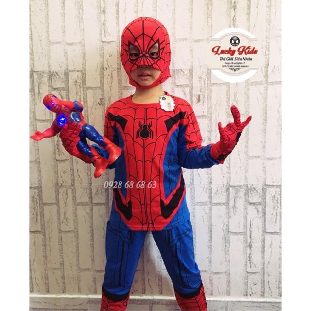 [ FLASH SALE KÈM GĂNG TAY MŨ TRÙM] Bộ quần áo siêu nhân tay dài người nhện trẻ em samkids