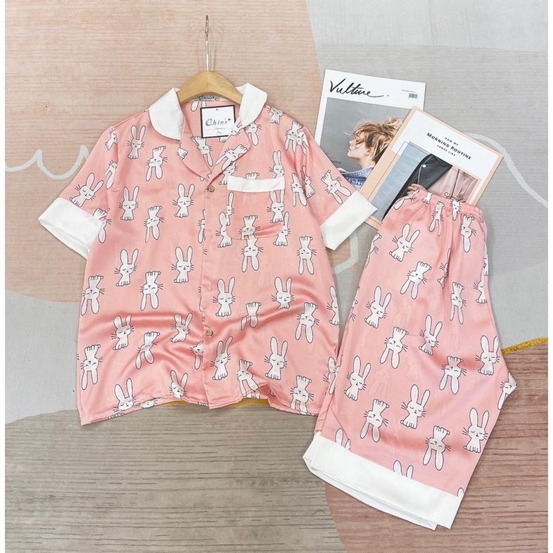 Mặc gì đẹp: Thoải mái với FREESHIP ĐƠN 99K_Bộ pizama lụa satin cộc quần lửng