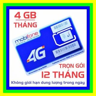 [CHỈ BÁN HÀ NỘI] Sim 4G Mobifone trọn gói 1 năm không nạp tiền MDT250A tặng 4Gb mỗi tháng