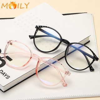 MOILY Anti-Blue Rays Optical Eye Glasses Transparent Round Frame Flat Mirror Eyewear
