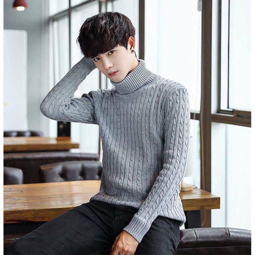 Áo len nam CỔ LỌ chất liệu LEN THỪNG đan phối dày dặn dáng vừa phù hợp cho cả nam và nữ hoặc làm áo đôi