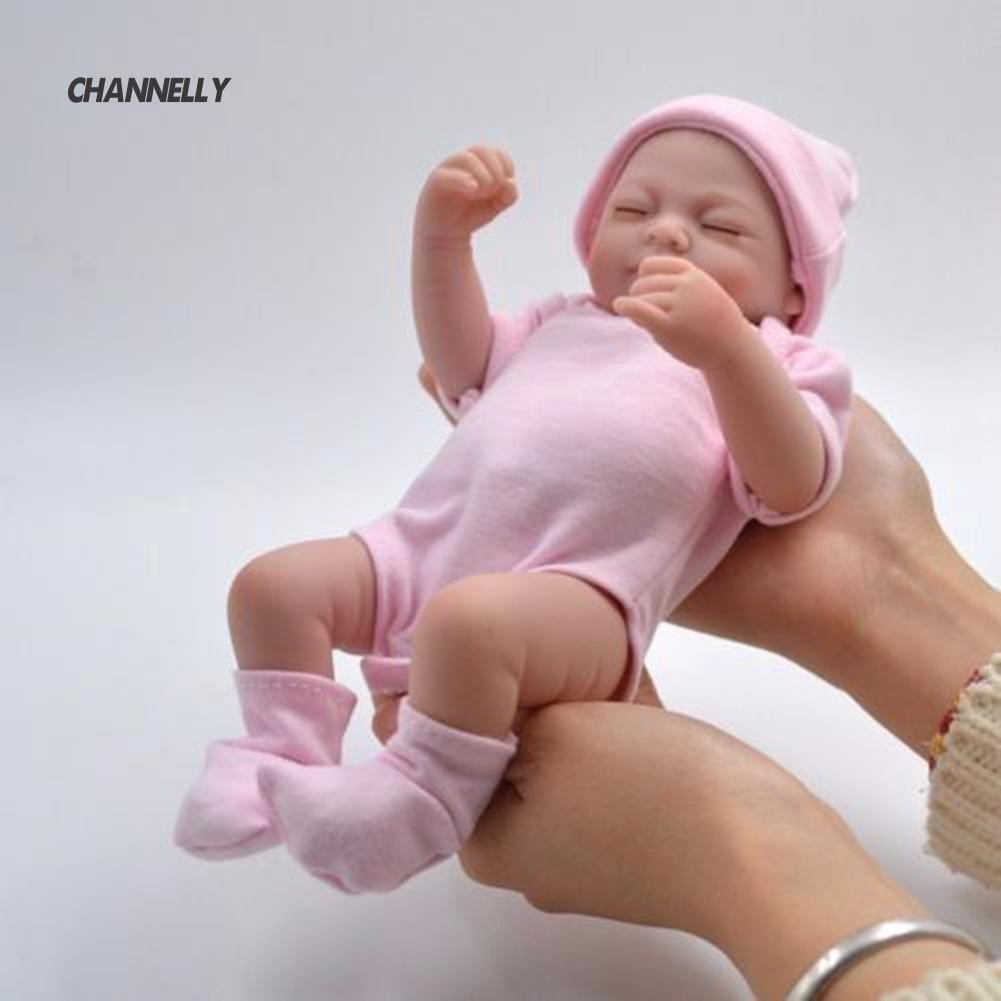 ■Cy 10inches Soft Silicone Reborn Baby Girl Newborn Lovely Girl Lifelike Toy