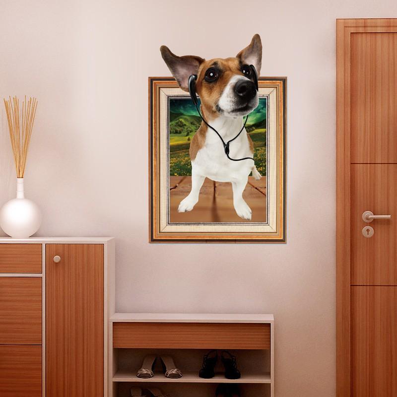 Decal dán tường - Giấy dán tường - Cửa sổ 3D Cún con dễ thương