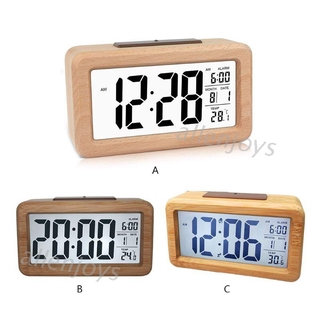 JOY Wooden Digital Alarm Clock with Temperature, Date, Backlight,Snooze,Non Ticking