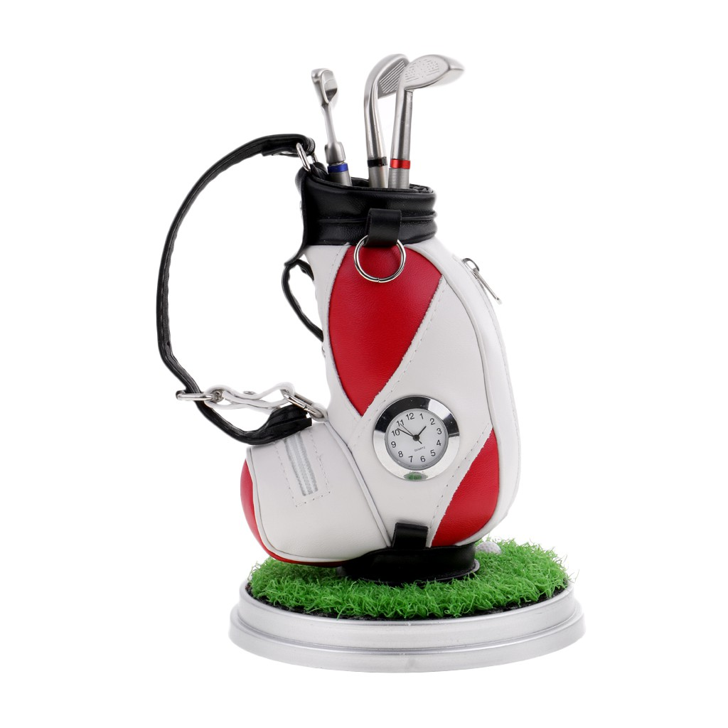 Golf Bag Pen Holder with Lawn Base Clock and 3 Golf Club Pens Decor Gift