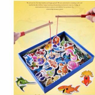 [Nhập TOYAPR10K giảm ngay 10K]Bộ đồ chơi câu cá nam châm gỗ ép 32 chi tiết