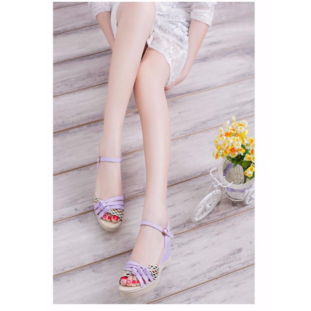 [FREE SHIP] Giày Đế Xuồng Nữ Tím cao gót 5cm - GN145