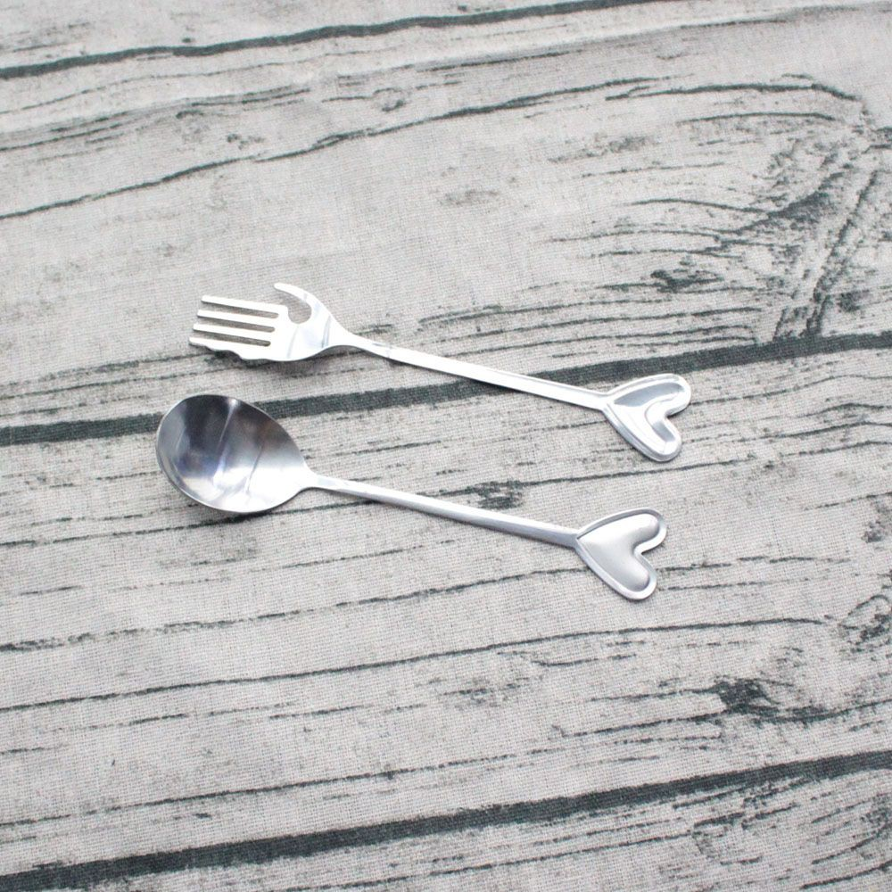 Wedding Party Silver 2Pcs Love Heart Stainless Steel Spoon Fork