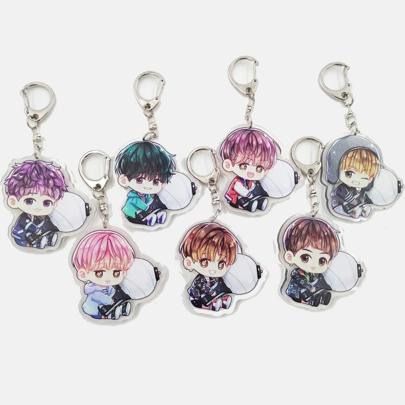 Dễ thương Kpop BTS Bangtan Boys Acrylic Keychain Keyring
