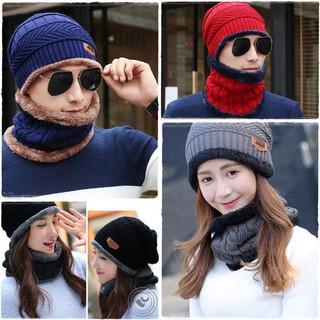 Mũ len nam nữ kèm khăn quàng cổ lót lông