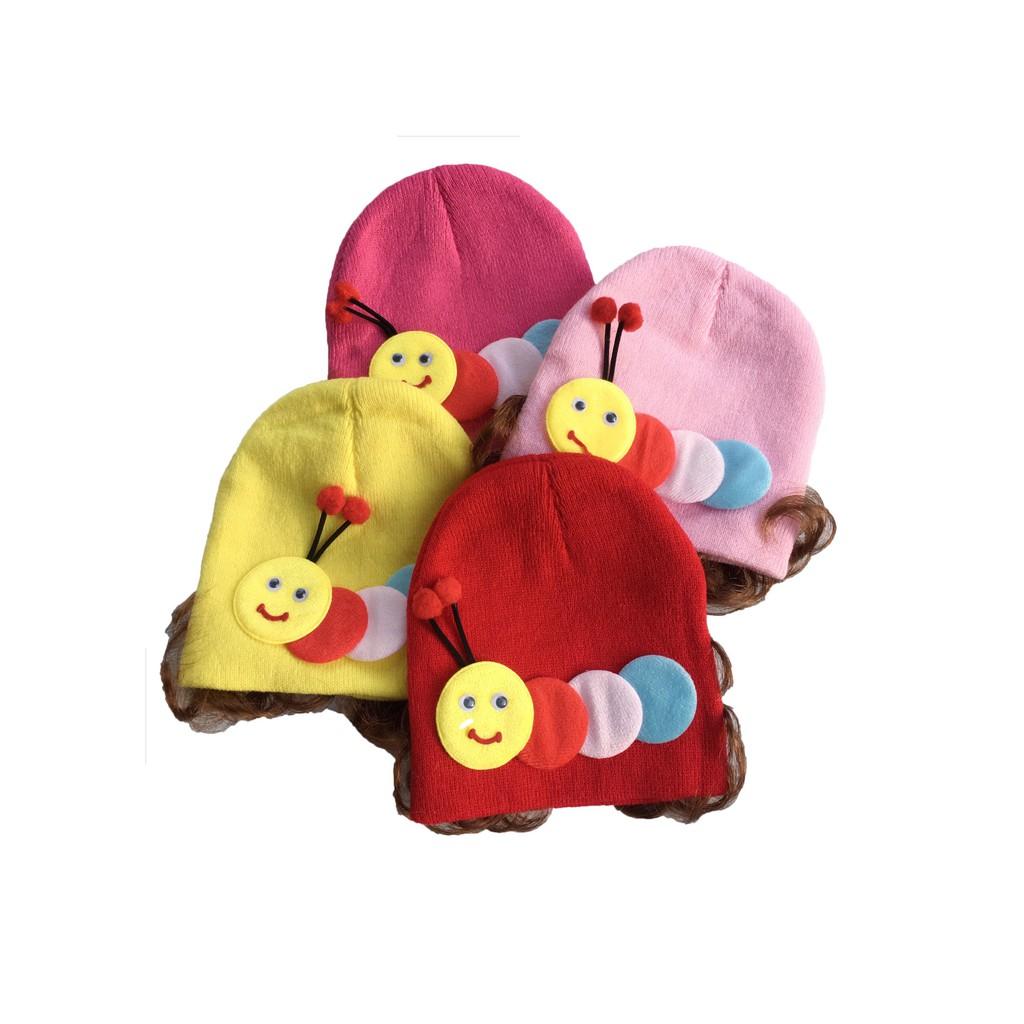 Mũ Len Dệt Kim Tóc Giả Bé Sơ Sinh Gái BabyBean (3-6 tháng, 5-7kg)   Nông  Trại Vui Vẻ - Shop