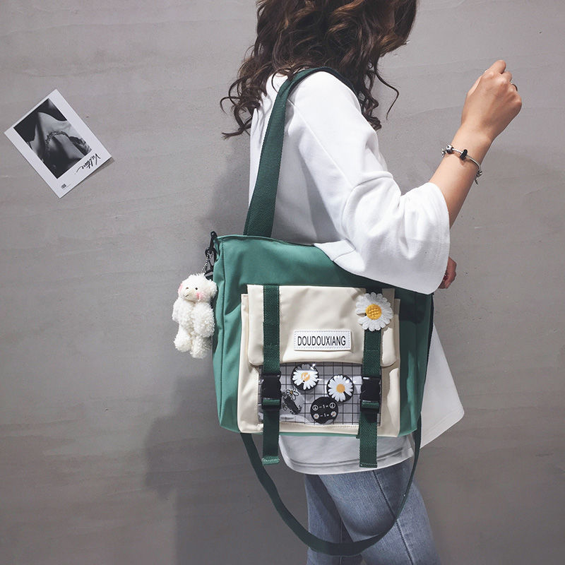 Túi Xách Canvas Họa Tiết Hoa Cúc Phong Cách Nhật Bản 2021 Cho Nữ
