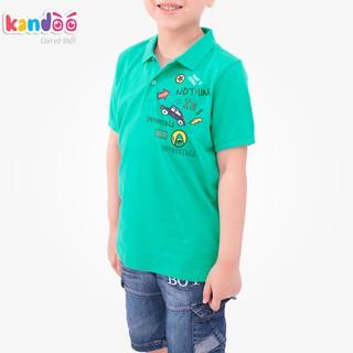 Áo polo ngắn tay bé trai KANDOO, hình in đáng yêu, thoải mái hoạt động, 100% cotton cao cấp mềm mịn, thoáng mát-DBPS1723