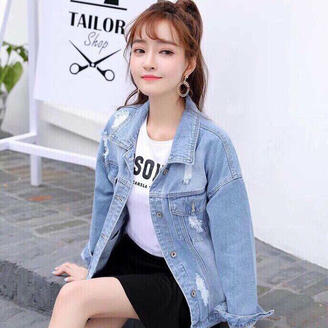 Áo khoác jean nữ phong cách cổ điển wax nhẹ - Áo khoác jeans