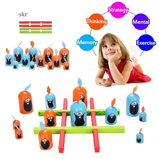 SKR♛12Pcs Cartoon Gobblet Gobblers Chess Board Brain Teaser Interactive Kids Toy