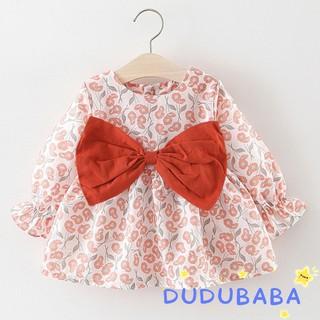 Đầm hoa xòe tay dài phối nơ dễ thương cho bé gái