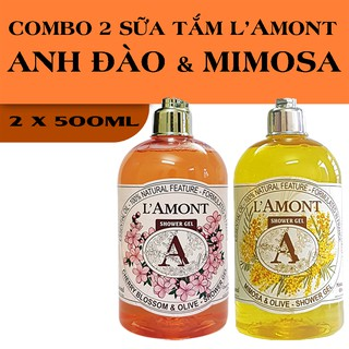 Combo 2 chai Sữa Tắm LAmont En Provence Hương Hoa Anh Đào và Hương Hoa Mimosa 500ml chai thumbnail