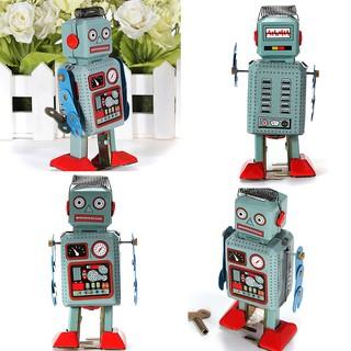 HEL❤ Vintage Mechanical Clockwork Wind Up Toys Walking Radar Robot Tin To