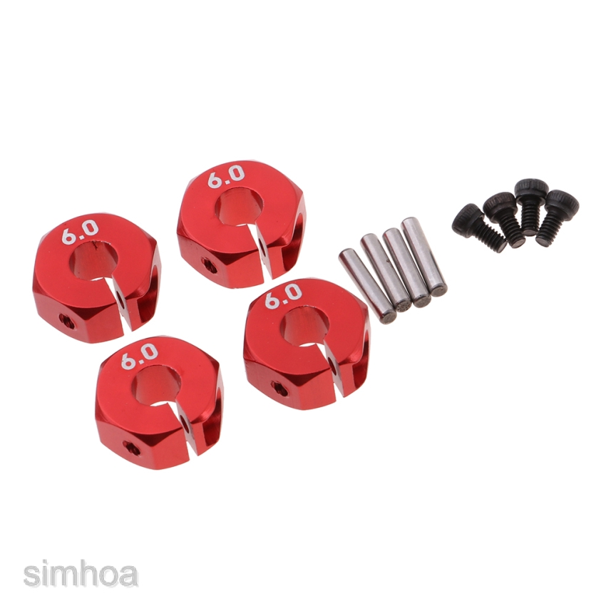 4pcs Wheel Hex Mount 12mm Hex Hub Red for 1:10 Scale RC Car Upgrade Parts