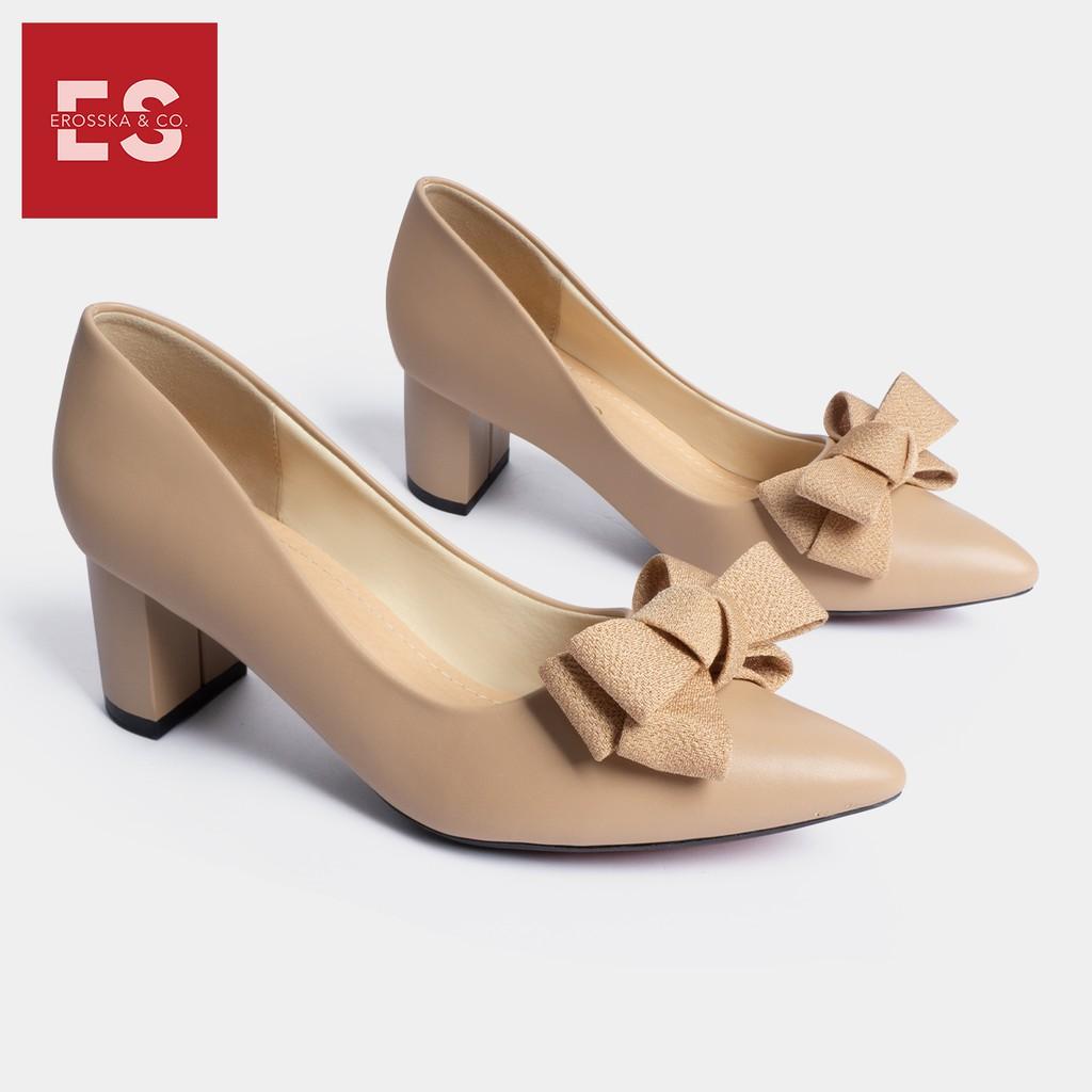 Giày cao gót Erosska thời trang mũi nhọn đính nơ điệu đà kiểu dáng cơ bản cao 5cm màu kem _ EP005