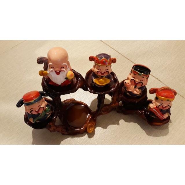 Bộ tượng thần tài 5 ông – Bộ ngũ thần cười kèm đế (kèm đế)