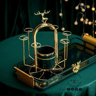 Giá úp cốc mẫu hươu mạ vàng có ống sứ cắm thìa dĩa