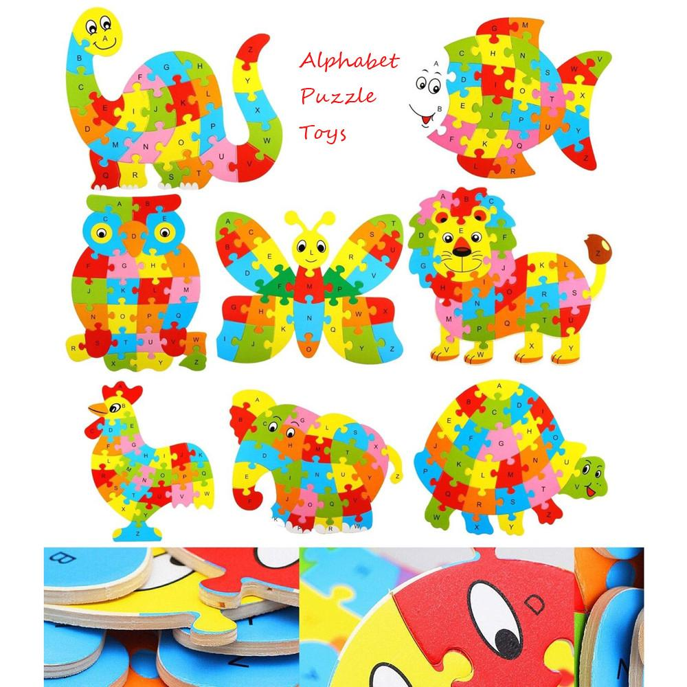【COD】Baby Wooden Wood Animal Puzzle Numbers Alphabet Learning Educational Toy