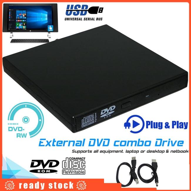 Slim External USB 2.0 DVD Drive CD RW Writer Burner Reader Player for PC Laptop Giá chỉ 169.400₫