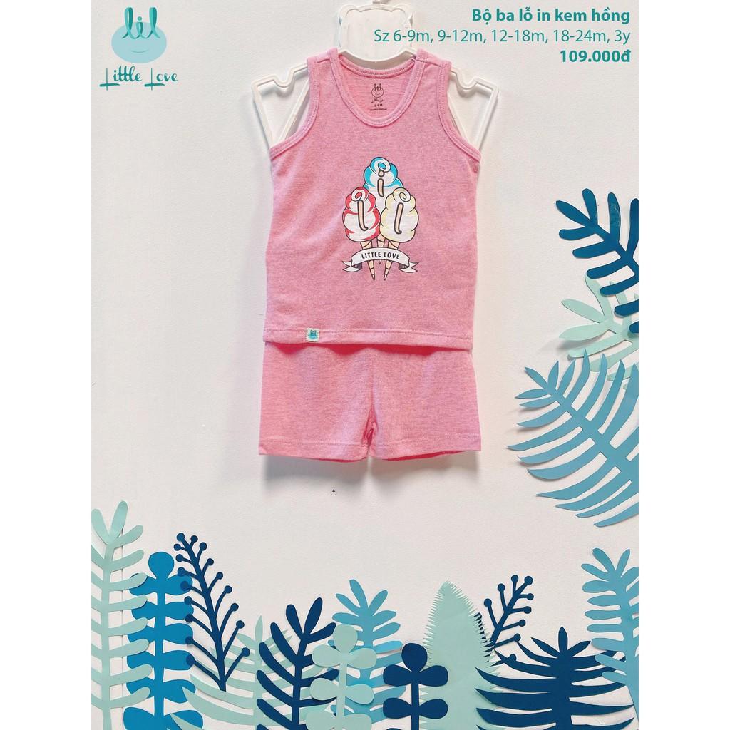 Bộ quần áo ba lỗ in kem cho bé 6 tháng đến 3 tuổi little love