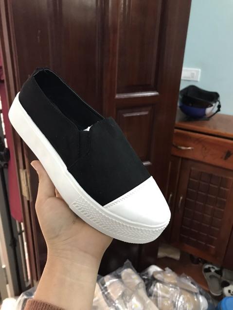 Giày slip on mũi pha da mẫu mới