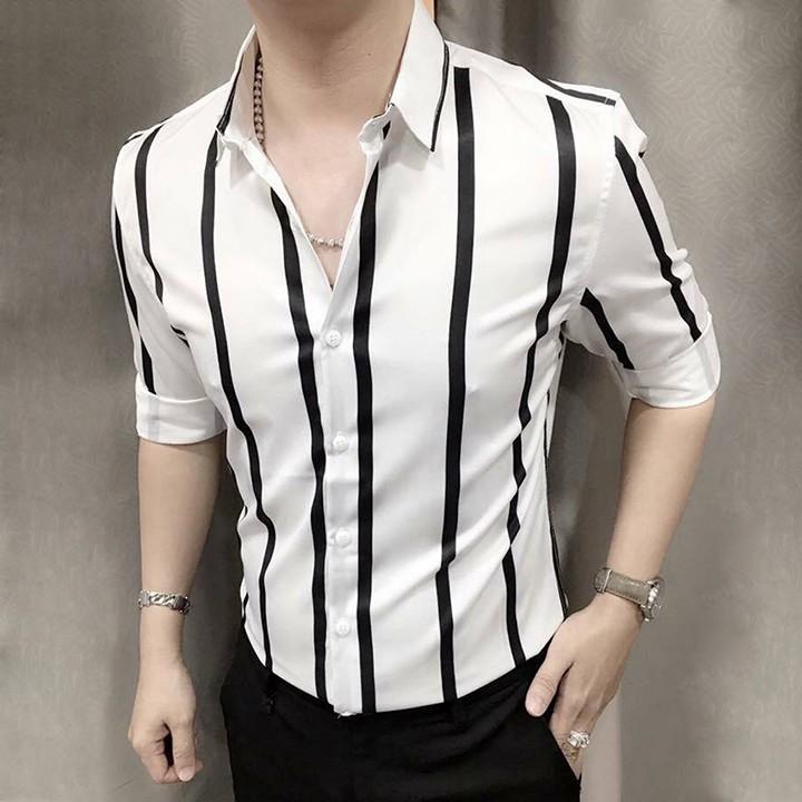 [SƠ MI HOT - HÀNG ĐẸP] Áo sơ mi - Áo sơ mi nam - Chất liệu lụa mềm mịn, dáng slim Hàn Quốc trẻ trung, tôn dáng người mặc
