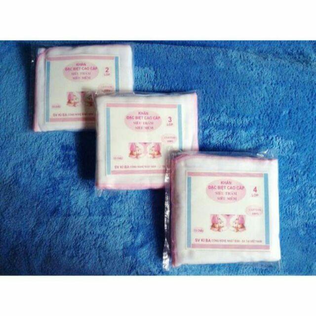 Gói 10 chiếc khăn sữa 4 lớp Kiba(lẻ=sỉ)