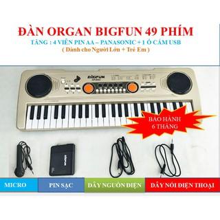 Đàn organ piano bigfun 49 phím đi kèm pin / ổ cắm usb/ dây kết nối điện thoại / sạc / dây nguồn / BH 6 Tháng