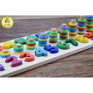 Bộ đồ chơi gỗ toán học – Montessori – Thả hình
