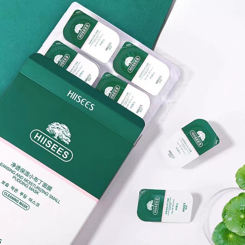 Mặt nạ đất sét HIISEES Rau má trà xanh matcha dạng viên du lịch sạch da ngăn ngừa mụn ẩn se lỗ chân lông HIIS01