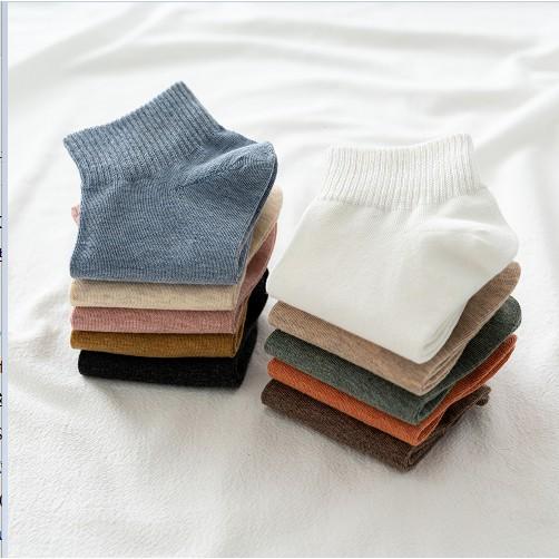 Vớ Cotton Màu Trơn Thoáng Khí Thời Trang Cho Nữ