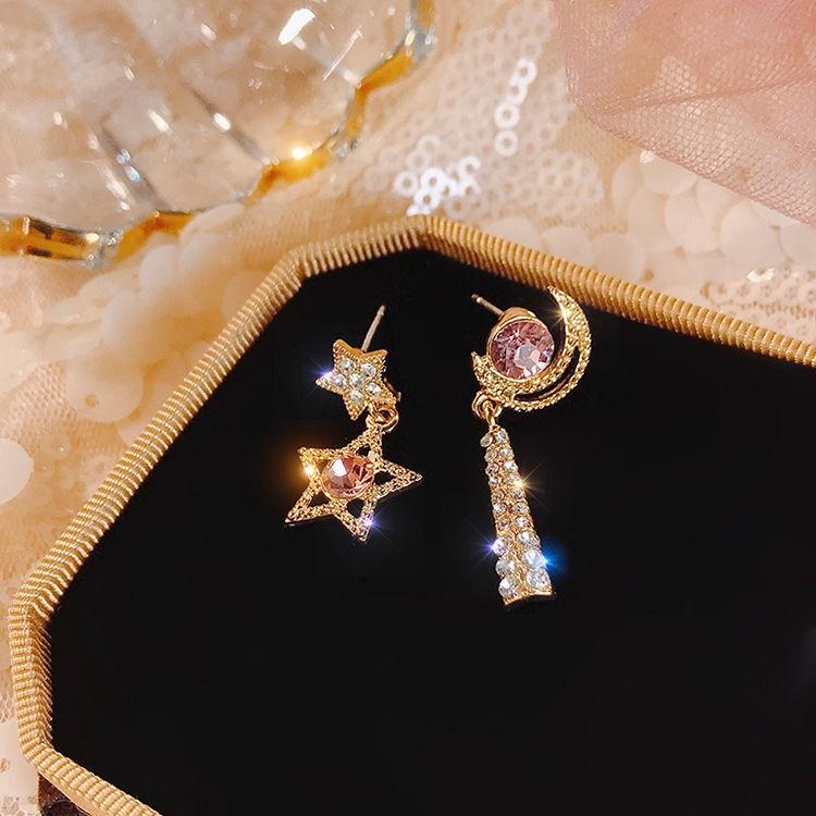 Khuyên tai tua rua hình trăng sao đính đá kim cương dễ thương phong cách hàn quốc cho nữ