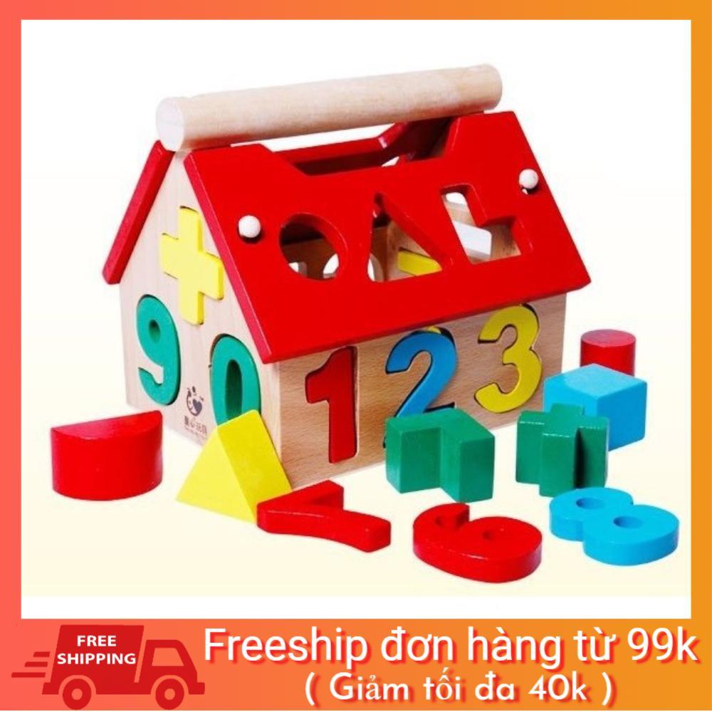 [BAO GIÁ SHOPEE] Bộ đồ chơi ngôi nhà gỗ thả hình và số phát triển trí tuệ cho bé hàng chuẩn đẹp