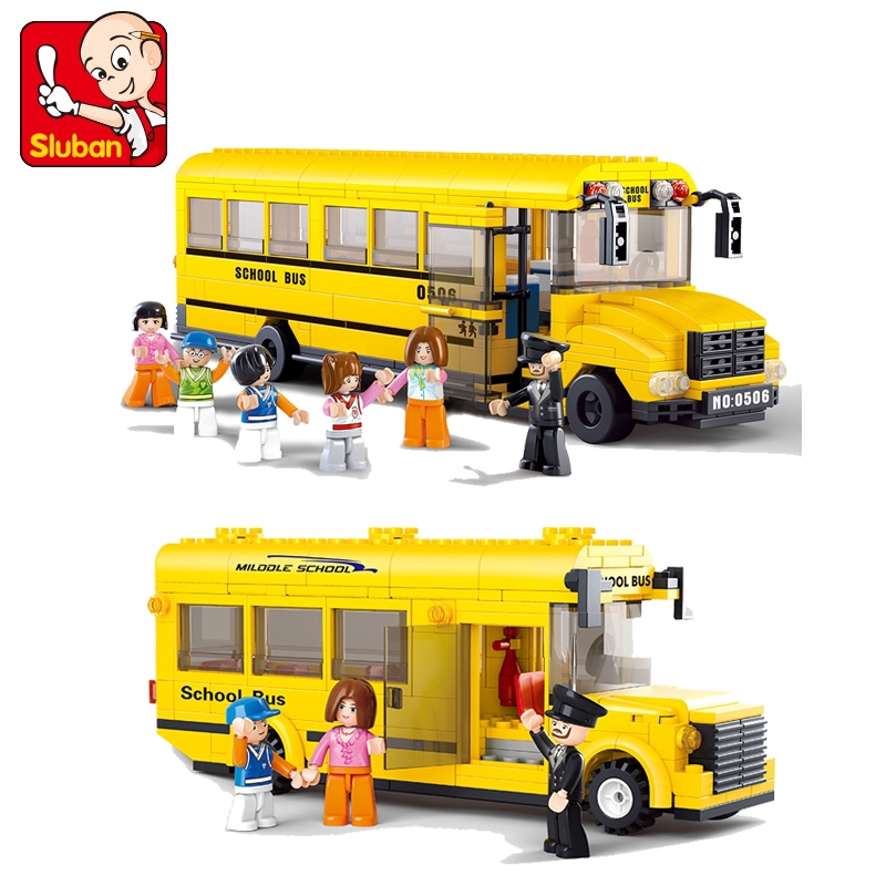 Compatible with Lego City Large Small Campus Bus Children's Puzzle Assembled Building Block Toys 0506 0507