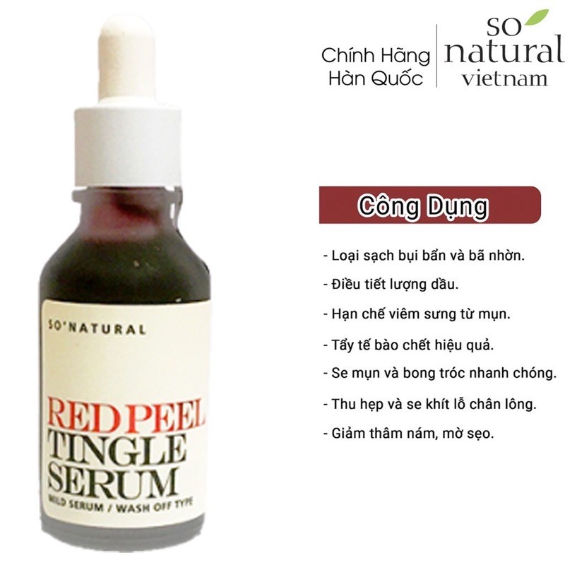 Red Peel Tingle Serum  Mild tinh chất tái tạo làn da Và Tẩy Tế Bào Chết So Natural Hàn Quốc Hàng Nhập Khẩu 100%