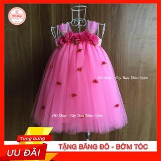 Váy cho bé ❤️FREESHIP❤️ Váy hồng đào hoa chiffon hoa hồng nhí