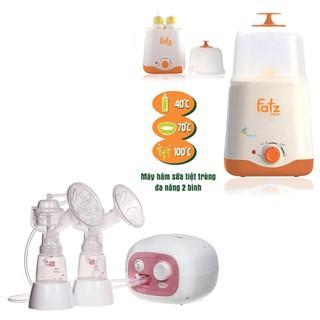Máy hút sữa điện đôi có matxa silicone Unimom Forte và Máy hâm sữa tiệt trùng 2 bình cổ rộng FatzBaby FB3011SL thumbnail
