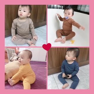 Bộ Dài Tay Cho Bé 💖FREE SHIP💖 Bộ quần áo thu đông Minky Mom thun lạnh dài tay cho bé trai bé gái trơn Chất Thun Lạnh