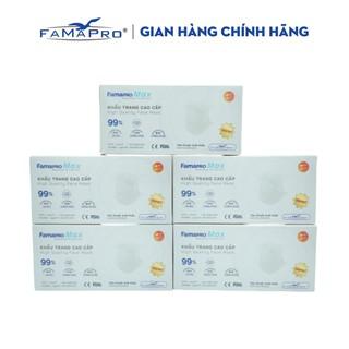 Combo 5 hộp khẩu trang y tế cao cấp kháng khuẩn 4 lớp Famapro max màu trắng (40 cái hộp ) thumbnail