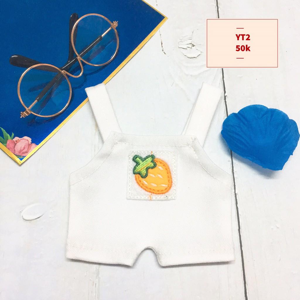 [outfit] Combo yếm+ giày/kính/dán anh đào cho doll 20cm