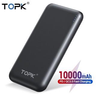 Sạc dự phòng TOPK  hai cổng USB Công nghệ sạc nhanh Quick Charge 3.0 - Có cổng sạc Charger PD - Hàng Chính Hãng