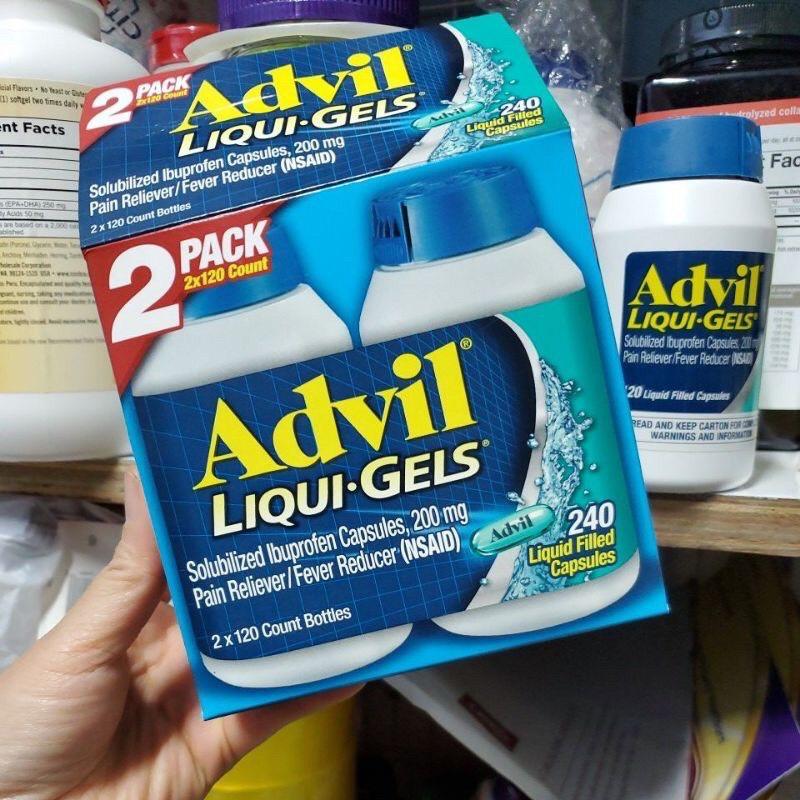 Hộp 240 viên uống Advil_liqui_gels của Mỹ