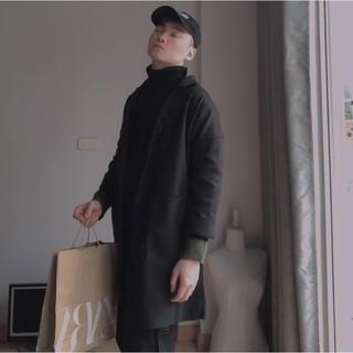 [CÓ SẴN – ẢNH THẬT] Áo khoác nam đen dáng dài tay lửng cao cấp phong cách Hàn Quốc
