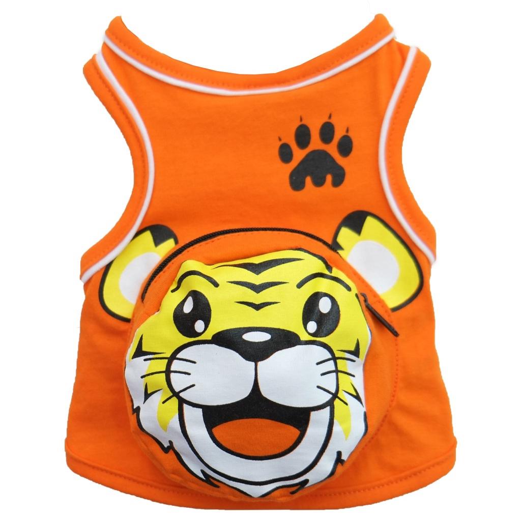 PetSociety เสื้อสุนัข เสื้อแมว แต่งกระเป๋า หน้า 'เสือ' - สีส้มัตว์เลี้ยง PetSociety เสื้อสุนัข เสื้อแมว แต่งกระเป๋า หน้า